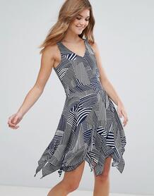 Короткое приталенное платье с принтом Lavand - Темно-синий 1120307