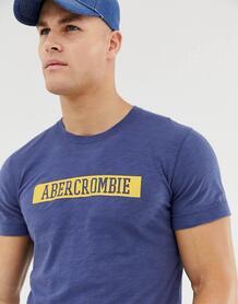 Синяя меланжевая футболка с логотипом Abercrombie & Fitch - Синий Abercrombie& Fitch 1253899