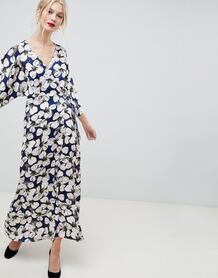 Платье макси с рукавами-кимоно и цветочным принтом Liquorish - Мульти 1249568
