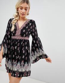 Свободное платье с принтом Lunik - Черный 1215781