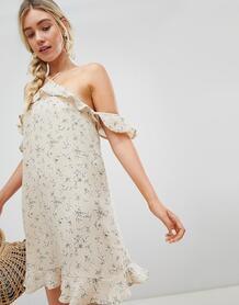 Платье в цветочек с открытыми плечами Lunik - Бежевый 1215788