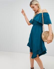 Платье миди с асимметричным подолом и открытыми плечами Lunik 1215807