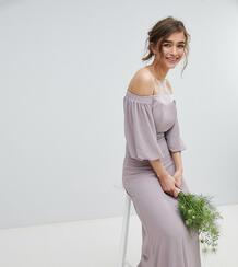 Платье макси с открытыми плечами и отделкой на талии TFNC Petite 1219905