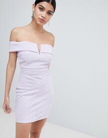 Облегающее платье мини с широким вырезом Missguided - Фиолетовый 1297781
