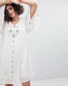 Платье-туника с отделкой и рукавами клеш Intropia - Кремовый 1258209