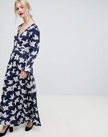 Платье макси с запахом и цветочным принтом Liquorish - Темно-синий 1249573