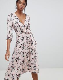 Платье миди с запахом и цветочным принтом Liquorish - Розовый 1249575