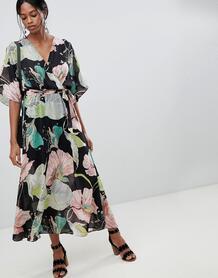Платье макси с цветочным принтом и открытой спиной Liquorish - Мульти 1249579
