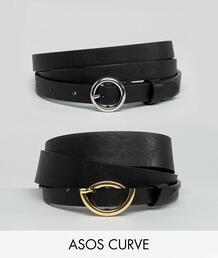 Набор из 2 ремней для джинсов ASOS DESIGN Curve - Черный Asos Curve 1275284