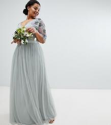 Платье макси из тюля Maya Plus - Зеленый 1265920