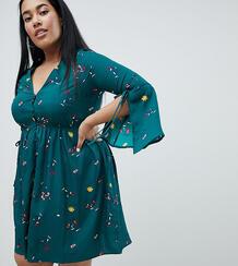 Платье с разрезами на рукавах и цветочным узором Missguided Plus 1277759