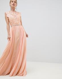Платье макси из тюля Jovani - Оранжевый 1244533