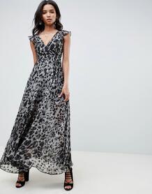 Платье макси с глубоким декольте и леопардовым принтом Religion 1288484