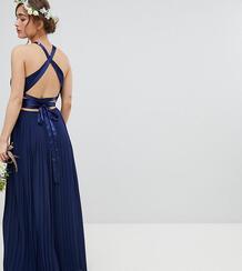 Плиссированное платье макси с перекрестной отделкой на спине TFNC Peti TFNC Petite 1219872
