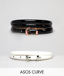 Набор из 2 узких лакированных ремней на талию и бедра ASOS DESIGN Curv Asos Curve 1257295