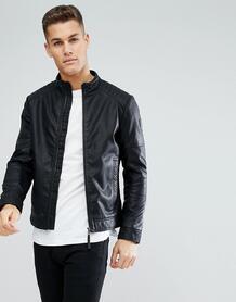 Байкерская куртка из искусственной кожи Tom Tailor - Черный 1220123