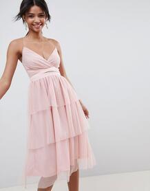Ярусное платье миди из тюля ASOS DESIGN - Розовый 1281135
