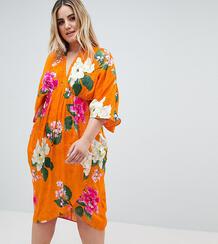 Жаккардовое платье миди с широкими рукавами и цветочным принтом ASOS D Asos Curve 1257123