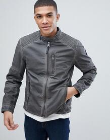 Хлопковая байкерская куртка Tom Tailor - Черный 1220131