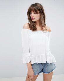 Топ с открытыми плечами и расклешенными рукавами Minimum - Белый 1245046