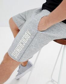 Серые меланжевые шорты с логотипом Abercrombie & Fitch Core - Серый Abercrombie& Fitch 1253926