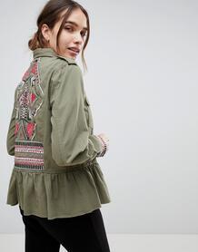 Куртка в стиле милитари с оборкой и вышивкой b.Young - Зеленый 1176777