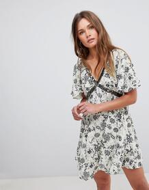 Платье с V-образным вырезом и отделкой бисером En Creme - Серый En Crème 1227867
