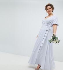 Платье макси с запахом и пышными рукавами TFNC Plus - Серый 1181560