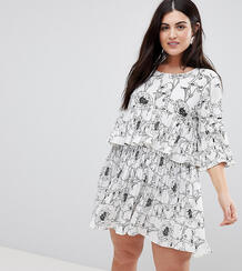 Ярусное платье с цветочным принтом AX Paris Plus - Мульти 1235320