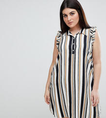 Платье-рубашка в полоску с оборками на плечах AX Paris Plus - Мульти 1235328