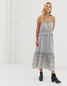 Платье миди с вышивкой Moon River - Серый 1226087