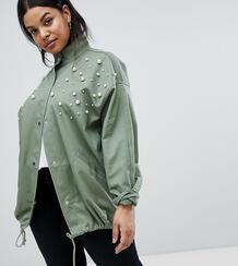 Куртка с отделкой искусственным жемчугом ASOS DESIGN Curve - Зеленый Asos Curve 1218952