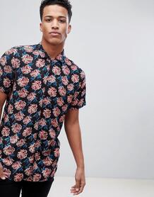 Рубашка с отложным воротником, короткими рукавами и цветочным принтом Brave Soul 1220193
