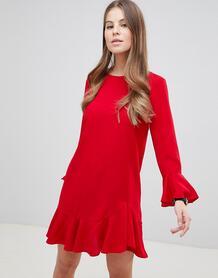 Платье мини с рукавами клеш ASOS DESIGN - Красный 1276606