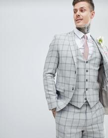 Серый приталенный пиджак в клетку River Island - Серый 1268320