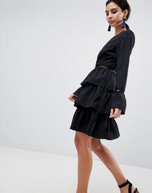 Короткое приталенное платье с ярусной юбкой Liquorish - Черный 1240366