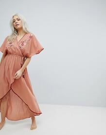 Пляжное платье макси с запахом и вышивкой Minkpink - Бежевый 1113895
