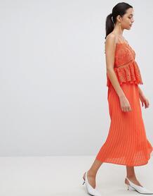 Платье миди с кружевом и плиссировкой Liquorish - Оранжевый 1240363