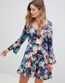 Платье с абстрактным цветочным принтом и рукавами клеш Lavand - Мульти 1226499