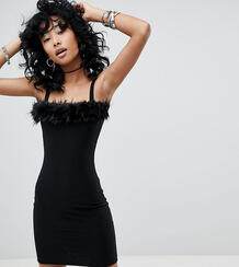 Платье с квадратным вырезом и отделкой из искусственного меха Rokoko 1277599