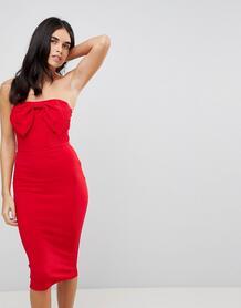 Облегающее платье миди с бантом спереди Ax Paris - Красный 1227589