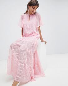 Шифоновое платье макси в горошек Traffic People - Розовый 1224801