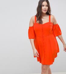 Платье мини с открытыми плечами и пышными рукавами ASOS DESIGN Curve Asos Curve 1262098