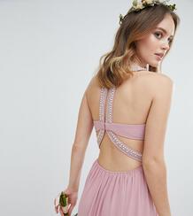 Платье макси с декоративной отделкой TFNC Petite - Розовый 1188528
