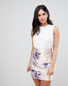 Платье с контрастной юбкой с цветочным принтом AX Paris - Розовый 1227603