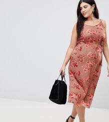 Платье на бретельках с запахом и цветочным принтом AX Paris Plus 1235317