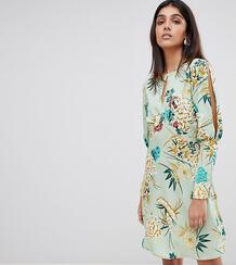Чайное платье с разрезами на рукавах и цветочным принтом Influence Tal Influence Tall 1210951