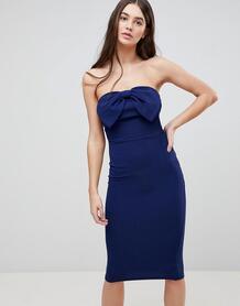 Облегающее платье миди с бантом Ax Paris - Темно-синий 1227590
