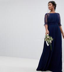 Платье макси с плиссировкой TFNC Petite - Темно-синий 1181774