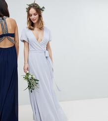 Платье макси с запахом, поясом и пышными рукавами TFNC Petite - Серый 1181552